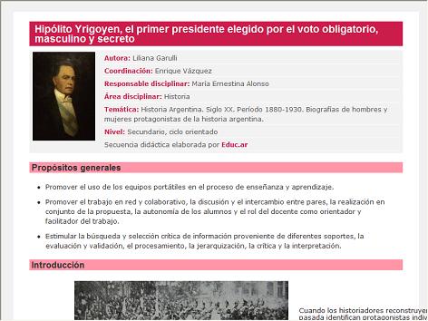 Screenshot de Secuencia Didáctica #14732 - Hipólito Yrigoyen, el primer presidente elegido por el voto obligatorio, masculino y secreto