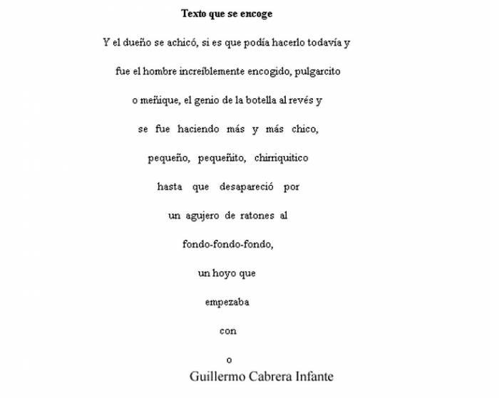 Otro desafío creativo que es la producción de caligramas: poemas (o