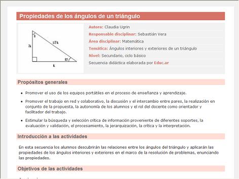 Screenshot de Secuencia Didáctica #15208 - Propiedades de los ángulos de un triángulo