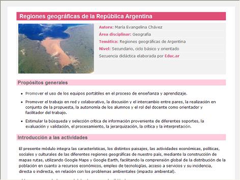 Screenshot de Secuencia Didáctica #14701 - Regiones geográficas de la República Argentina