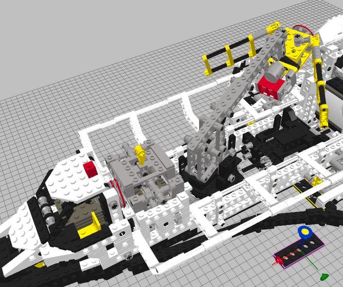 Transbordador espacial realizado con ladrillos Lego virtuales.
