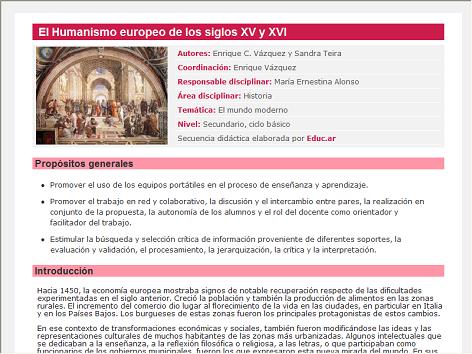 Screenshot de Secuencia Didáctica #14713 - El Humanismo europeo de los siglos XV y XVI