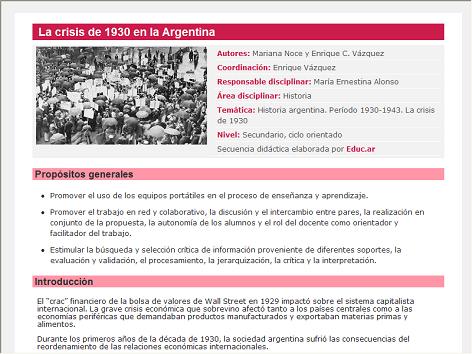 Screenshot de Secuencia Didáctica #14738 - La crisis de 1930 en la Argentina