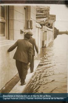 Elecciones e inundación en el Barrio de La Boca, Capital Federal (1931)