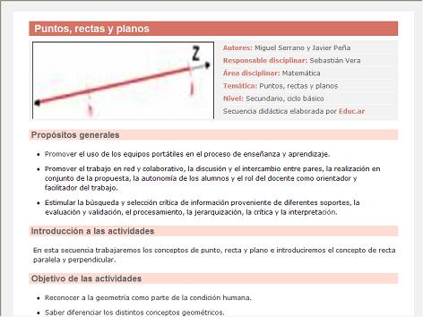 Screenshot de Secuencia Didáctica #14988 - Puntos, rectas y planos