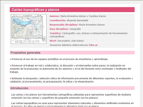 Screenshot de Secuencia Didáctica #14612 - Cartas topográficas y planos