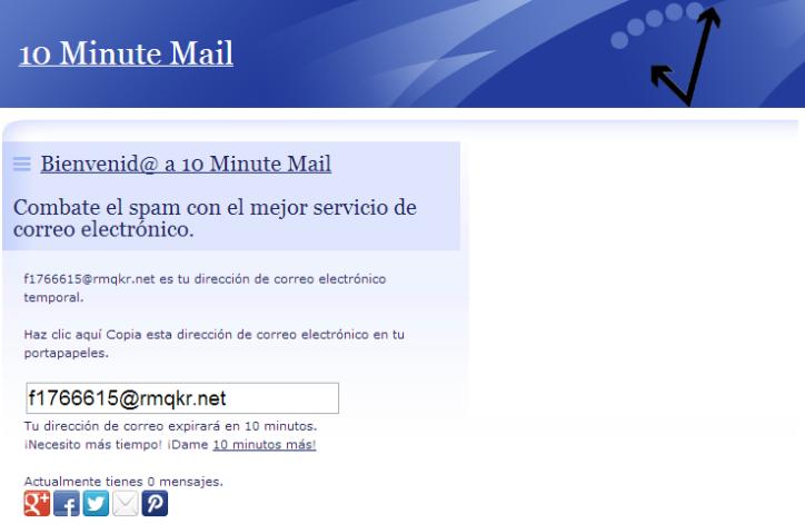 Captura de pantalla del sitio web 10Minute Mail. Se muestra cómo se crea una cuenta de e-mail provisoria. En color.