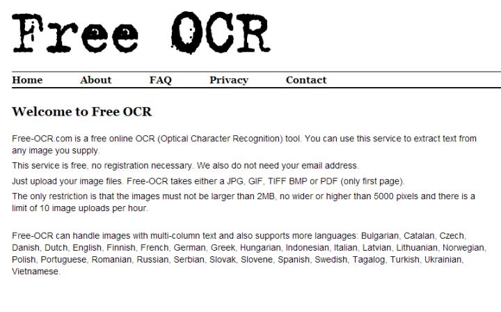 Captura de pantalla del sitio Free OCR. En letras negras, grandes, se distingue el nombre del sitio web. En blanco y negro.