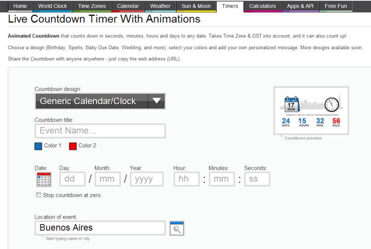 Captura de pantalla del sitio Animated Countdown, donde se muestra como  crear y sincronizar un reloj digital que muestre cuánto tiempo falta para que suceda un acontecimiento. En color.