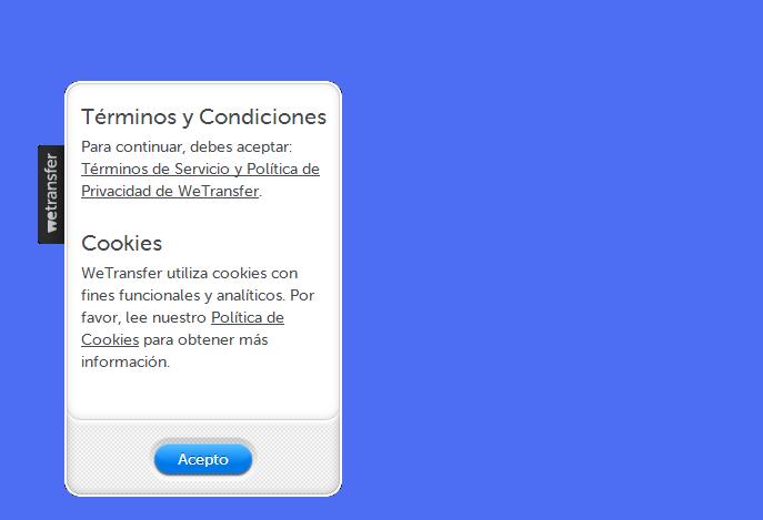 Captura de pantalla del sitio WeTransfer. Una pantalla blanca con letras negras en inglés. Atrás, un fondo azul. En color.