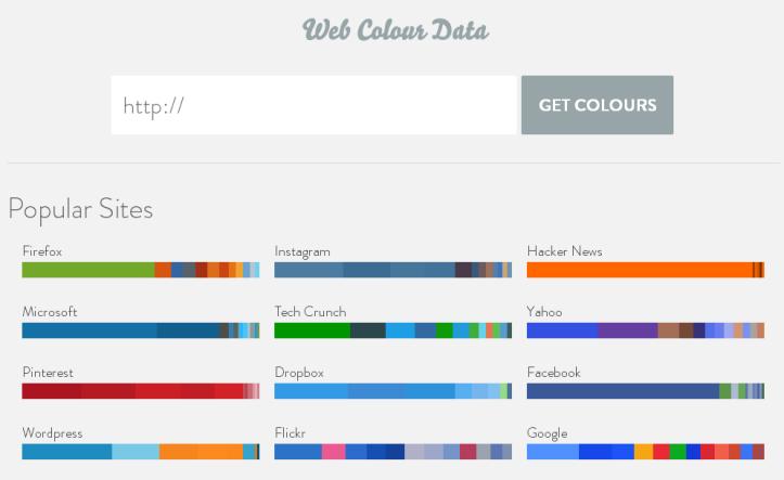 Captura de pantalla del sitio Web Colour Data, mostrando las paletas de colores de diversos sitios y herramientas web como Firefox, Instagram, Microsoft, Yahoo, Pinterest, Google y WordPress, entre otros. En color.