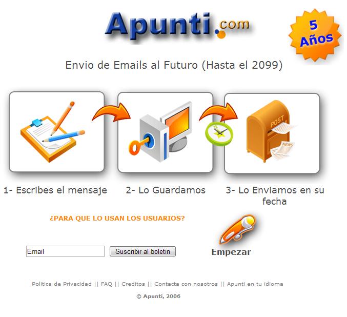 Captura de pantalla del sitio Apunti. Se muestran una serie de cartas, lápices y casillas de correo que simulan la oportunidad de escribir cartas y notas que pueden recuperarse en un futuro predeterminado. En color.